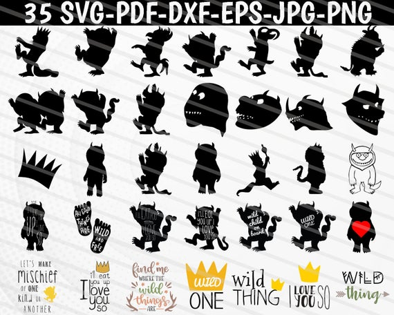 Where The Wild Things Are Svg Wild One Crown Where The Wild Things Are Clipart Wild Thing Print Best Part Of Me Silhouette Studio Designer Edition Wild Ones