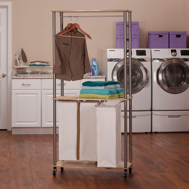 Household Essentials 3 Bag Laundry Center Sorter With Hanging Rod