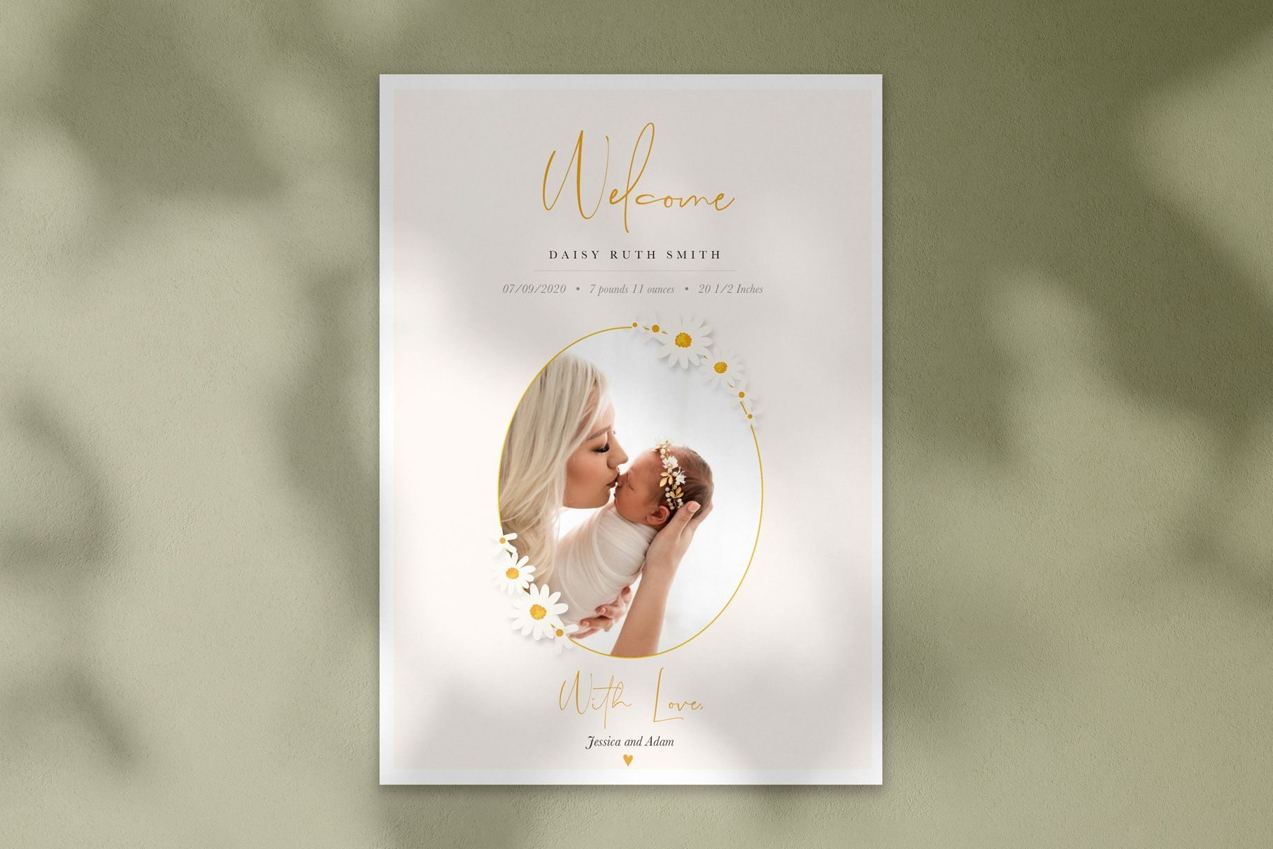 Daisy Birth Announcement Template By By Stephanie Design On Creativemarket Birth Announcement Template Photoshop Template Design Photo Card Template