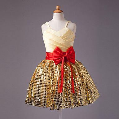 Ball Gown Spaghetti Straps Knee-length Satin Bow Sleeveless Flower Girl Dress (More Colors) – CAD $ 50.96