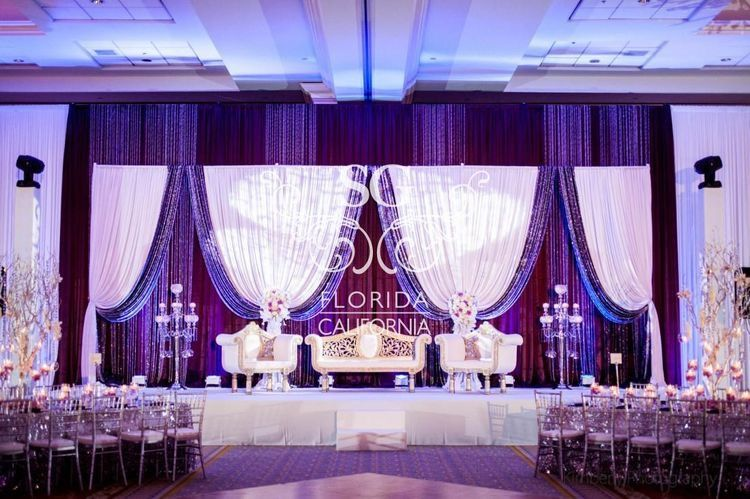 Good draping use in the back Wedding stage decorations Wedding reception decorations