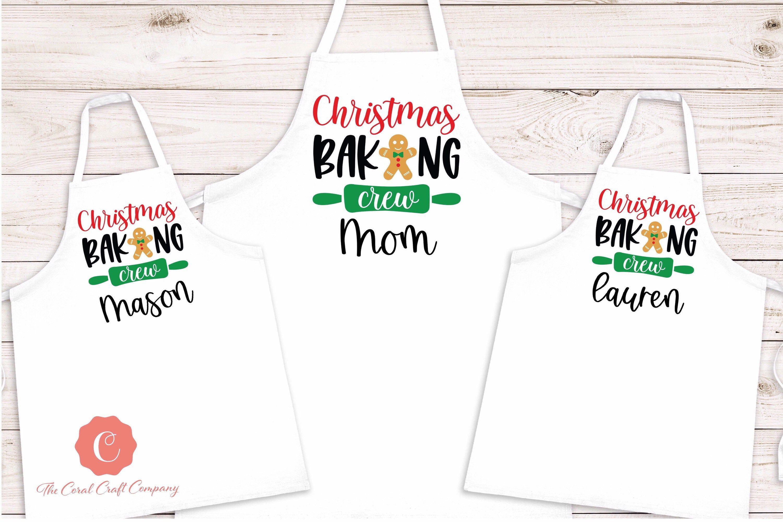 Christmas Baking Crew Embroidered Christmas Apron Christmas Apron Holiday Apron Gift Apron