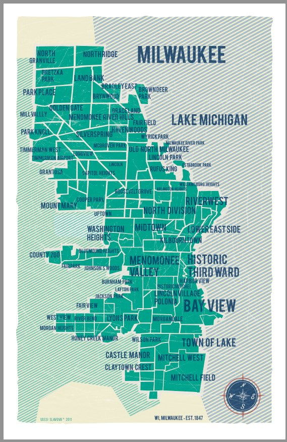 City Map Milwaukee in Turquoise- Vintage style poster 11x17. $30.00 ...
