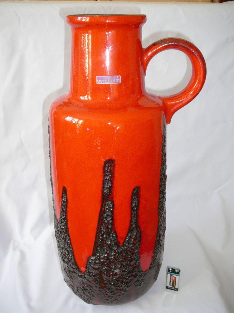 Scheurich Vase Bodenvase Xxl Keramik Fat Lava Glanz 409 52 60er 70er