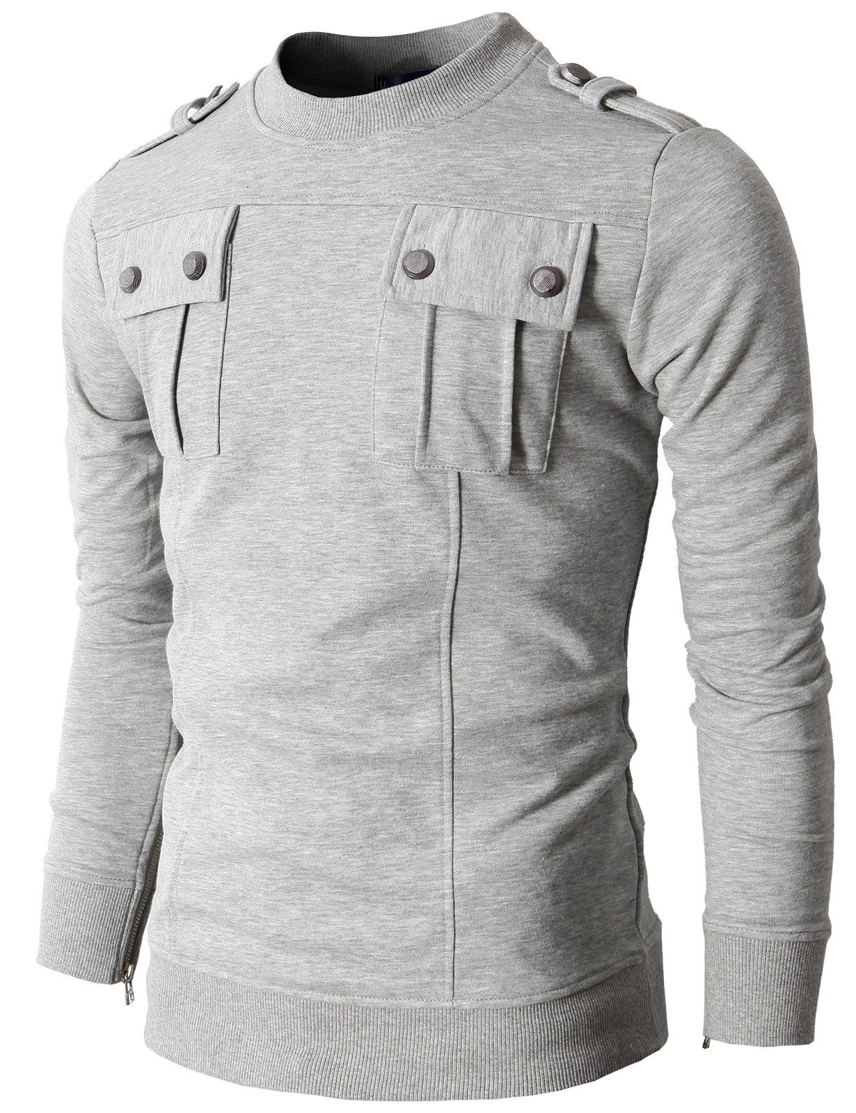 Mens T Shirts With Two Pocket And Shoulder Epaulet Kmttl017