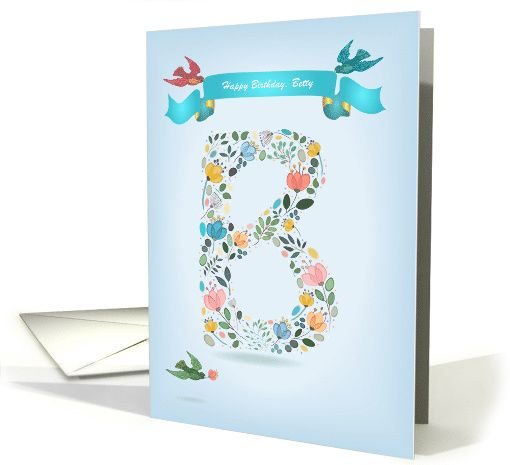 happy birthday to betty floral letter b custom text and name card