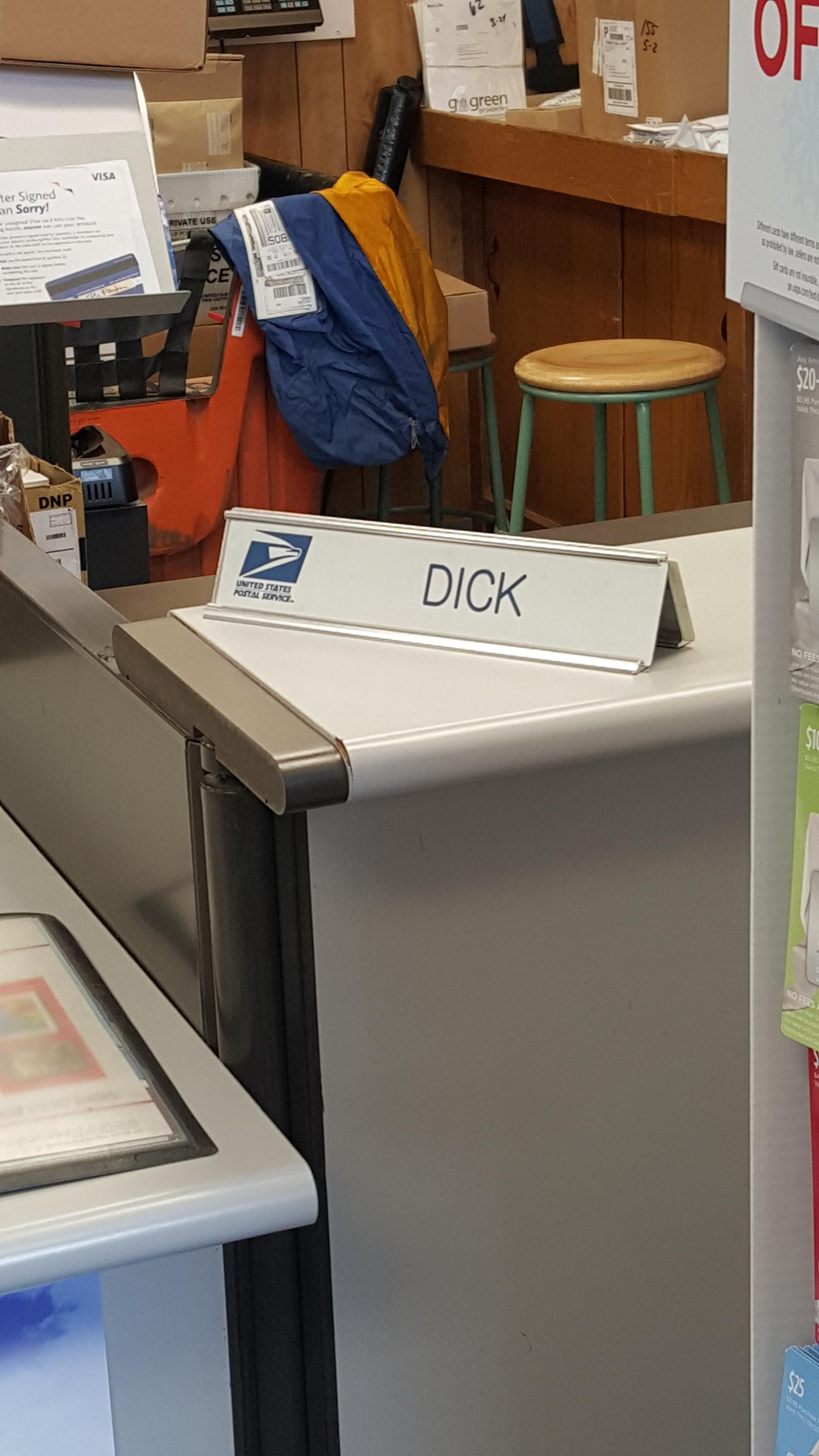 I found Dick at the post office.