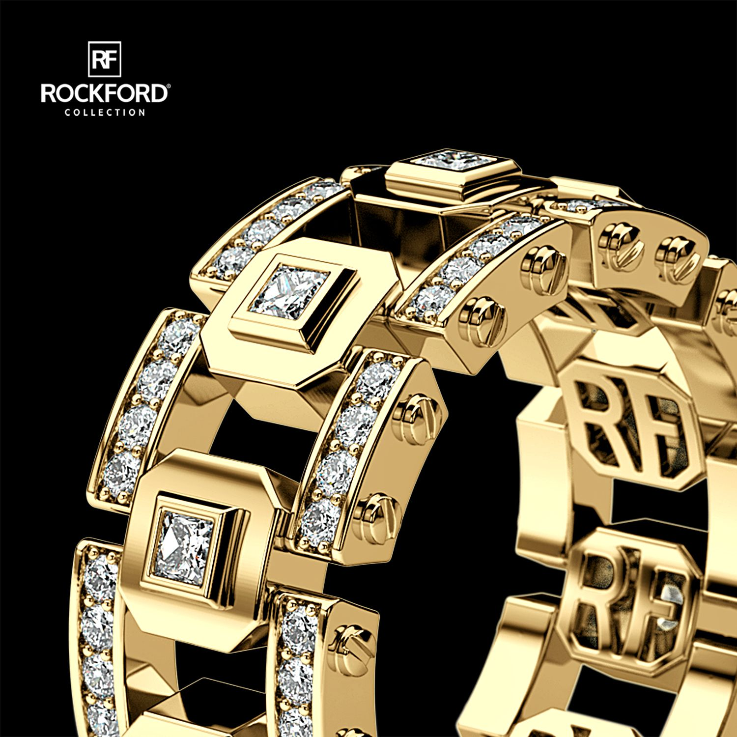 LA PAZ Mens Gold Wedding Band with Diamonds in 2020 Mens