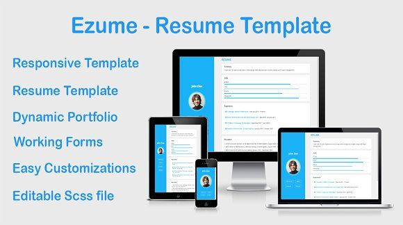 Ezume Resume Template Responsive Resume Working Contact Form Dynamic - resume form