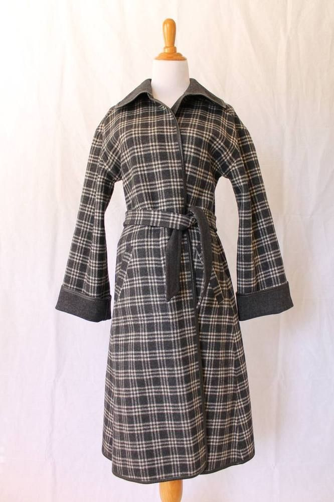 3fd8bf28ff VINTAGE Pendleton Reversible Gray Plaid Wool Dress Coat With Leather Trim 8  XS S  Pendleton