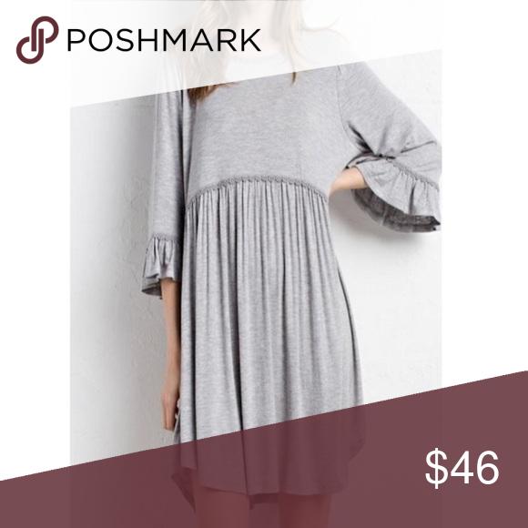 b0627b0d83d Slub Knit Babydoll Dress in Light Grey Fabric: 94% Rayon 6% spandex ...
