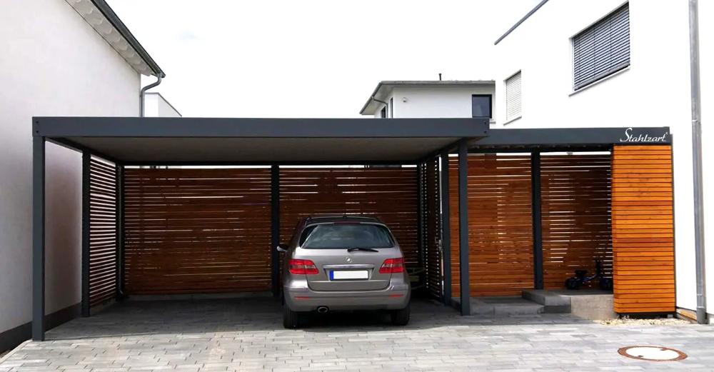 Carport Metall Paris Aus Holz Stahl Moderner Doppelcarport Stahlzart Vordach Hauseingang Holz Metall In 2020 Carport Metall Carport Zeitgenossische Architektur