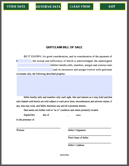 Quitclaim Bill Of Sale Form  Forms