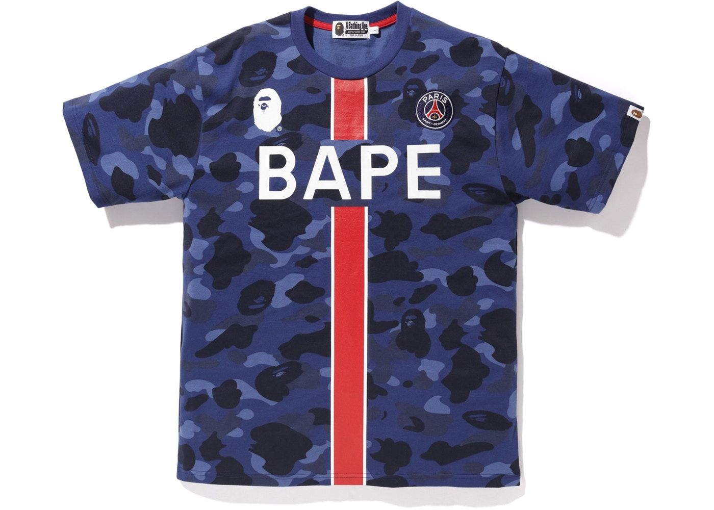 57cde73f Buy and sell authentic BAPE streetwear on StockX including the BAPE x PSG  Tee Navy from FW18.