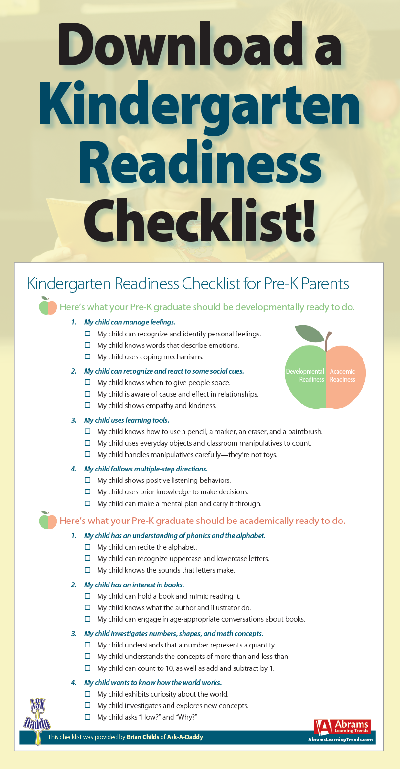 Kindergarten Readiness Checklist For Pre K Parents