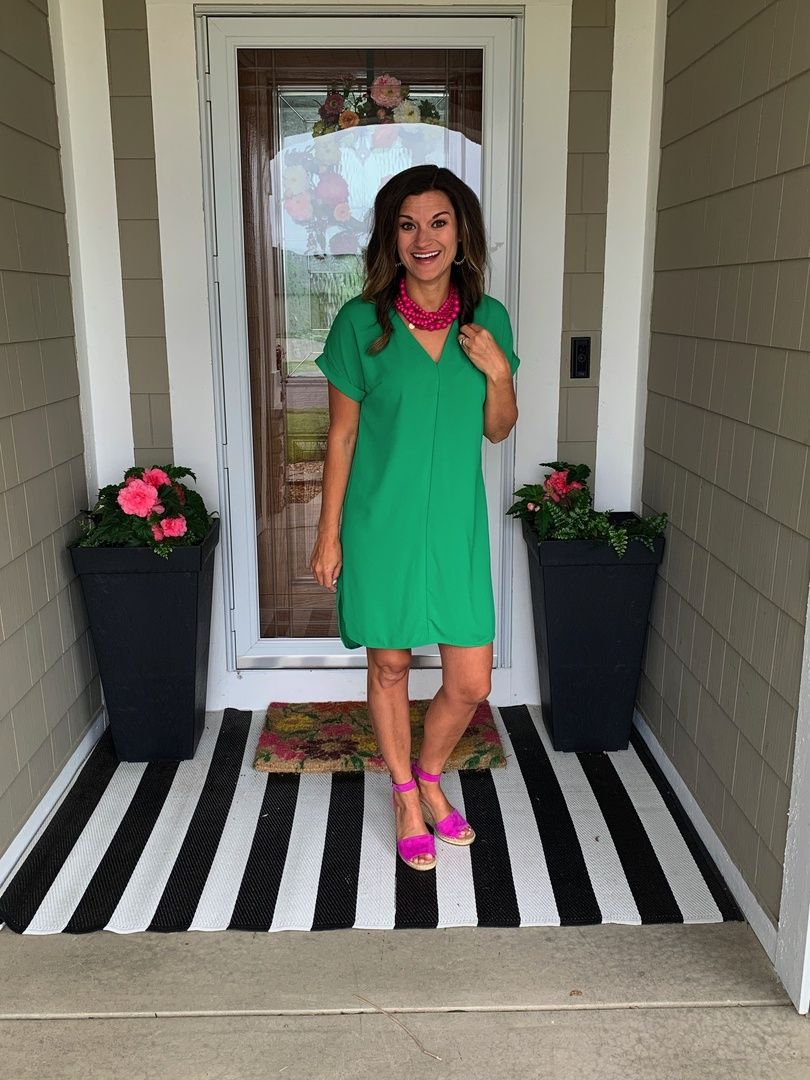 Green Dress Paired With Hot Pink Accessories Justpostedblog Shopstyle Shopthelook Myshopstyle Ootd Lookschallenge Contrib Fashion Target Clothes Dresses [ 1080 x 810 Pixel ]