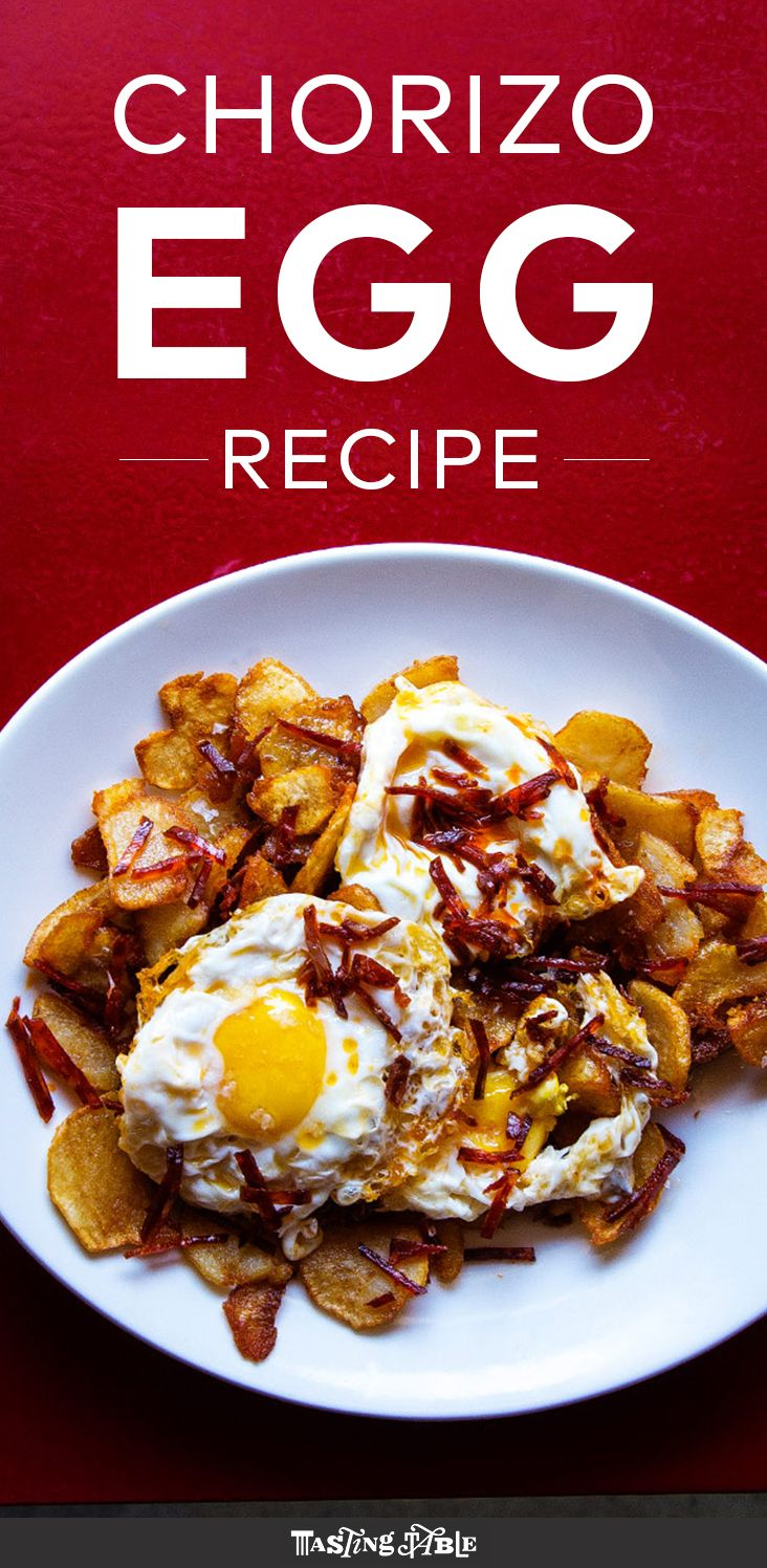 Crisp fried potatoes are topped with smoky chorizo and runny eggs for the Basque version of breakfast for dinner.