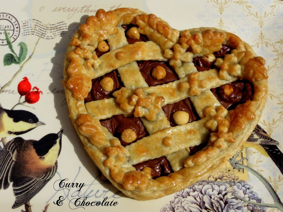 Puff pastry heart with Nutella