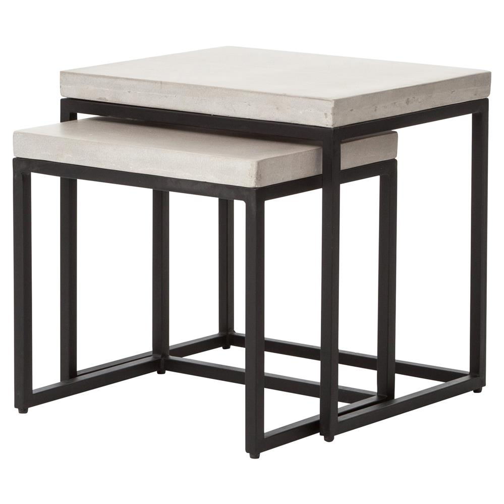 Zue Industrial Loft Concrete Top Outdoor Nesting Side End Tables Set Of 2 Coffee Table