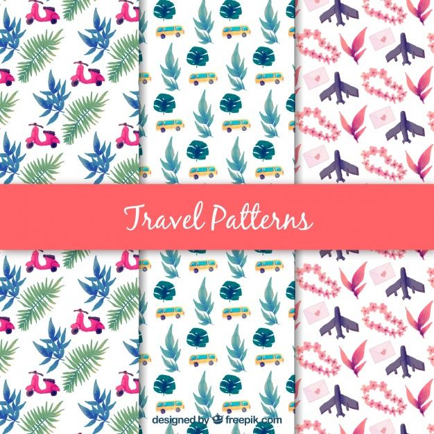 Set Of Nice Decorative Watercolor Patterns Free Vector