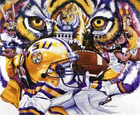 Lsu Fighting Tigers Football Sports Art Print Lsu Tigers Football Lsu Tigers Art Tiger Football