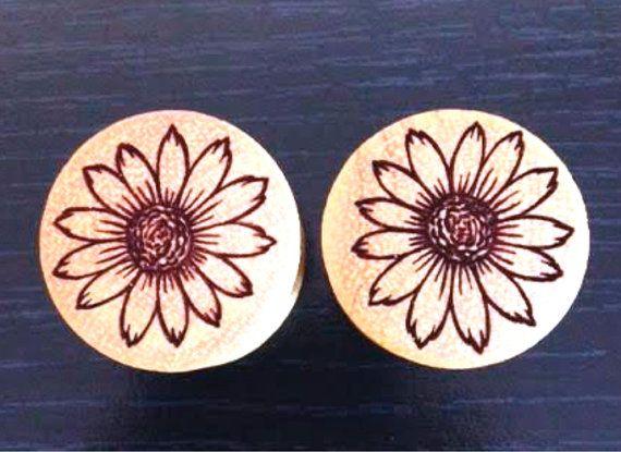 Custom Handmade Organic Flower Wood Plugs  by ULEKstore, $19.95  Available also at ulekstore.com