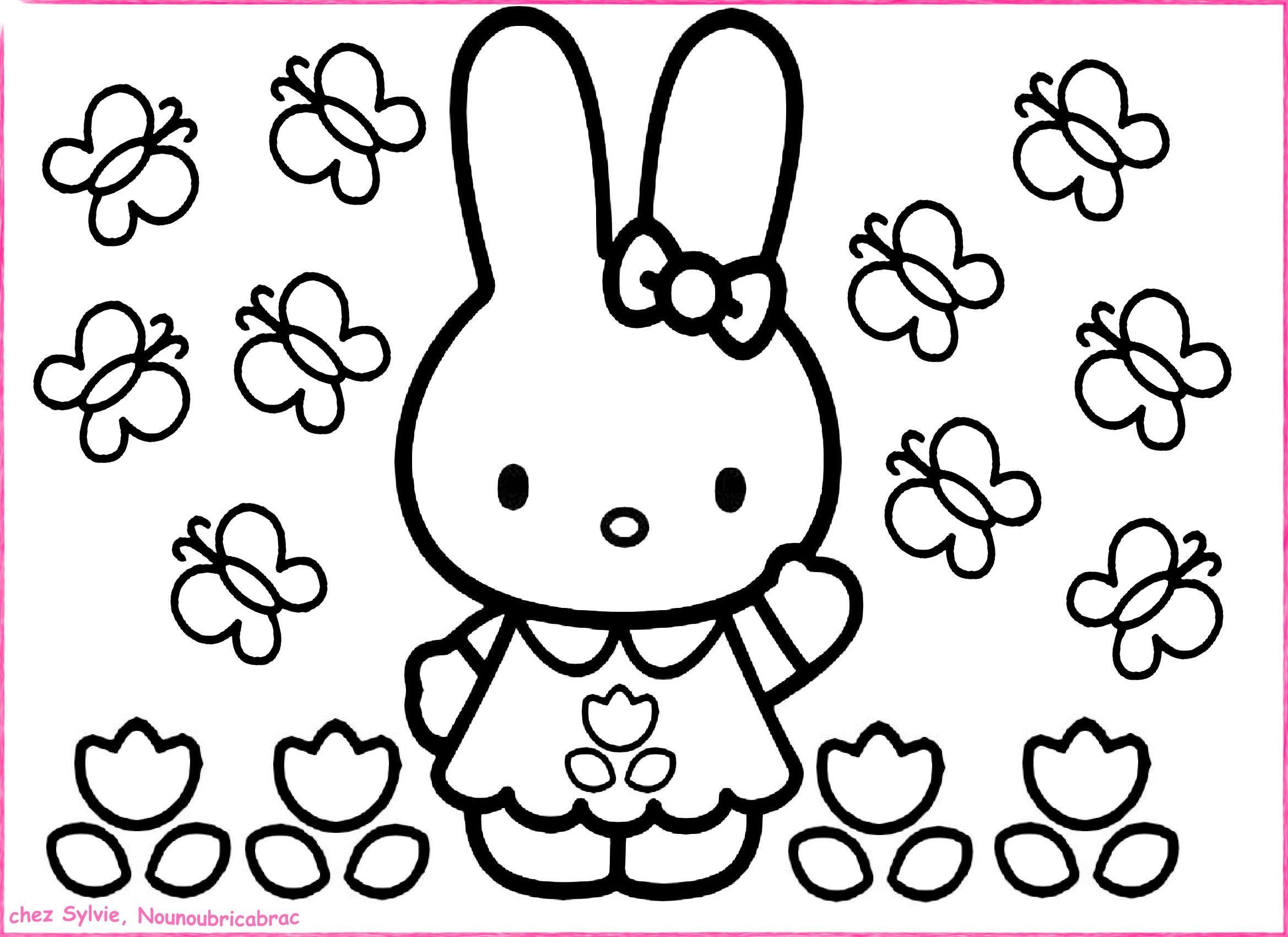 lapin et papillons mettre en couleur un coloriage pour les plus petits