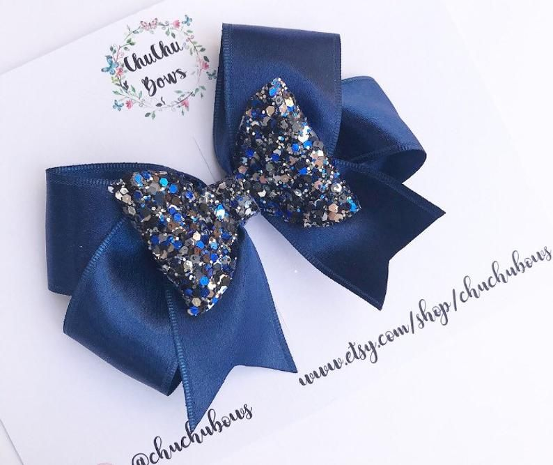 Ribbon hair bows, glitter and ribbon hair bow, handmade bows, toddler bows, hair clip
