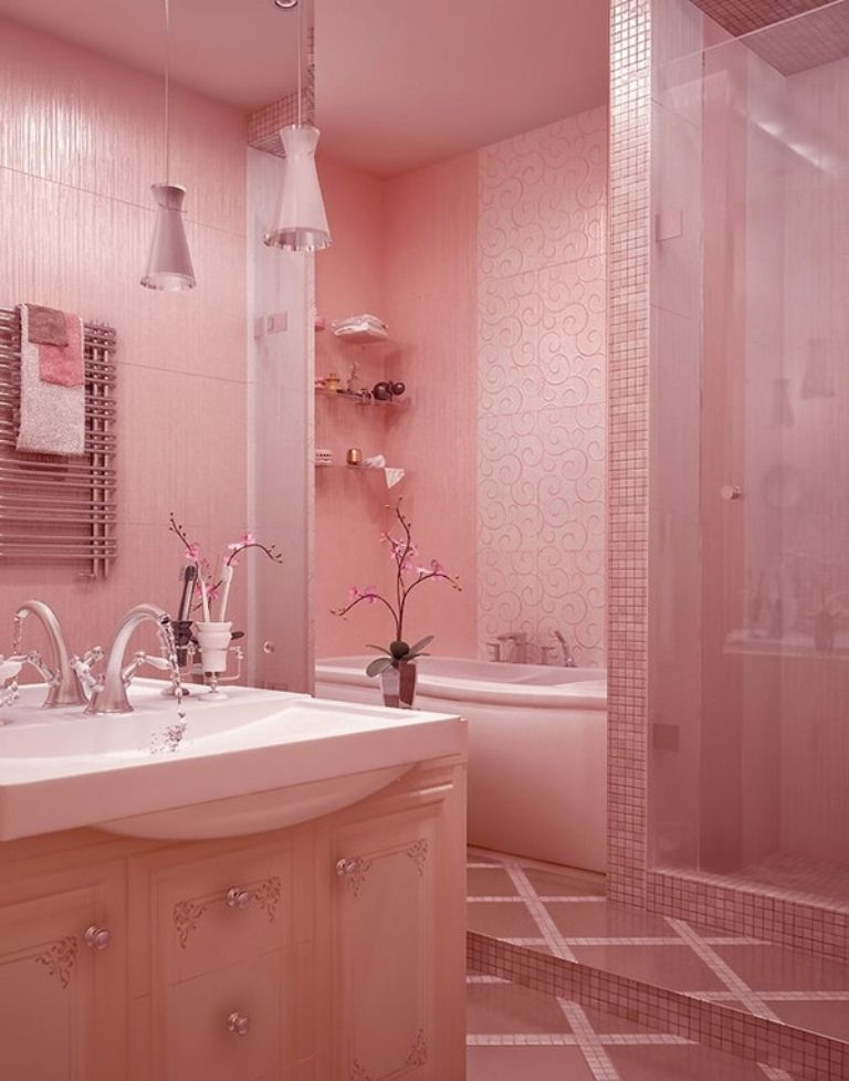 10 designs de salle de bain magnifique en rose think pinksalle de bain rose3 pink bathrooms designs, modern bathroom design, bathroom interior design,