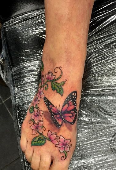 Realistic Butterfly Flowers Tattoo On Foot By Shadow3217 Butterfly Foot Tattoo Flower Tattoo Foot Feet Tattoos