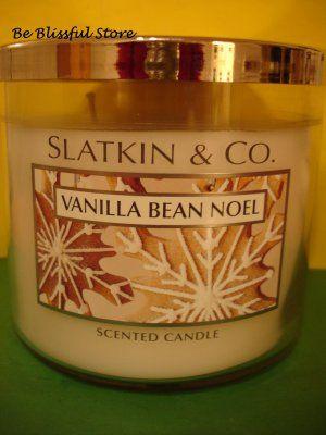 Bath & Body Works Slatkin Vanilla Bean Noel 3 Wick Candle
