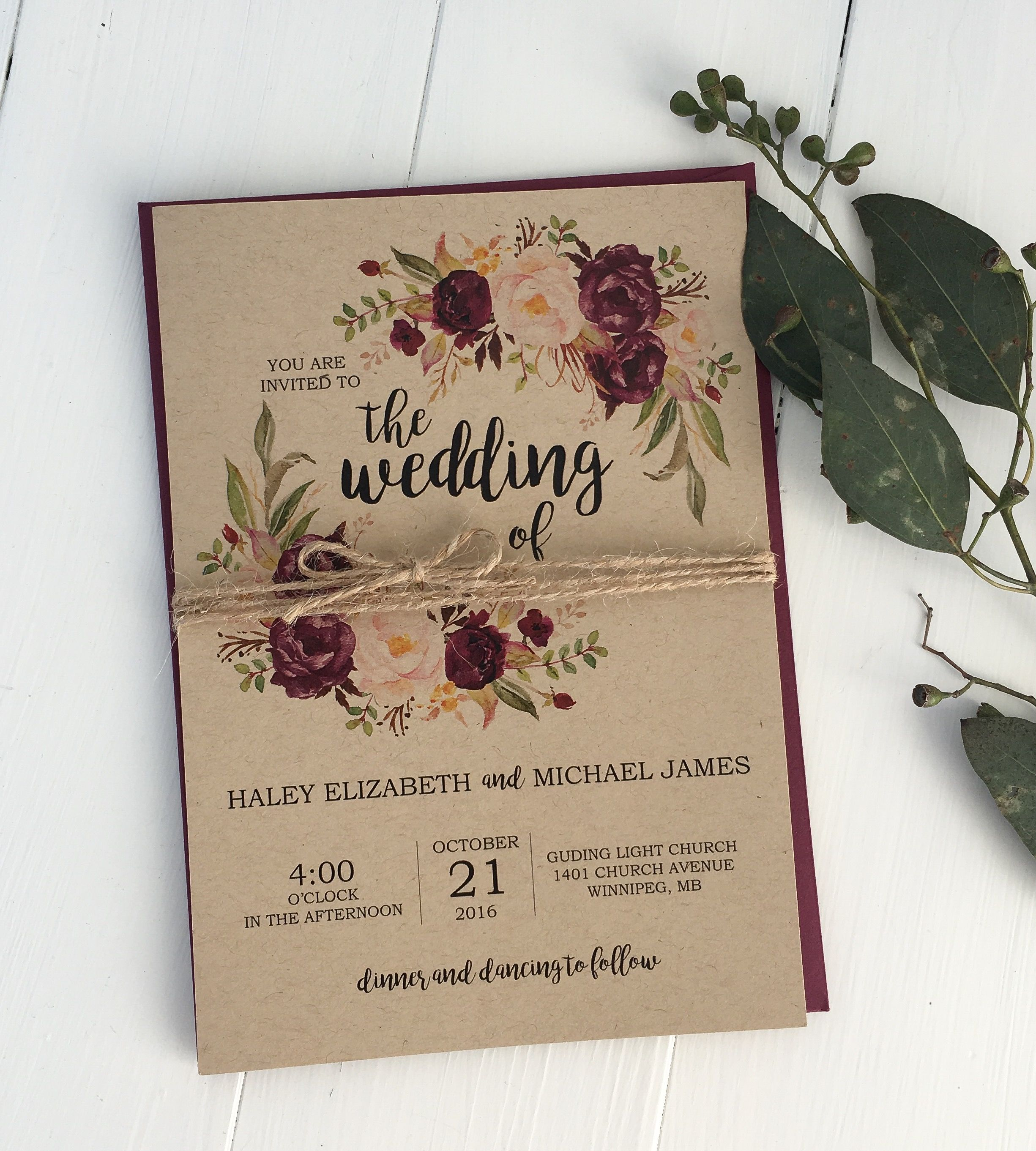 Rustic burgundy wedding invitation kraft wedding invitation