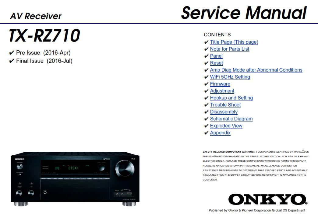 Onkyo TX RZ710 AV Receiver Service Manual and Repair Guide | Onkyo