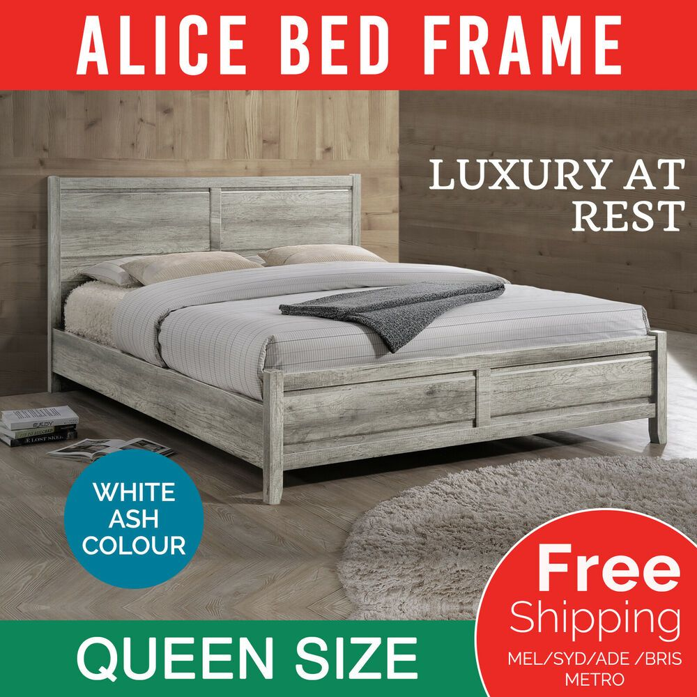 Queen Size Bed Frame Base For Mattress Bedroom Furniture White Ash