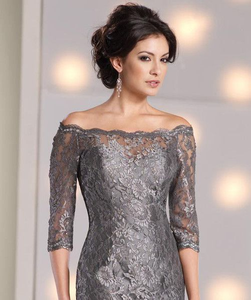 ae95b6af20 Wholesale Lace Short Mother of the Bride Dresses Sheer Off-shoulder Vintage  Half Sleeves Gray Custom Made Formal Cheap Wedding Party Women Gowns 2015