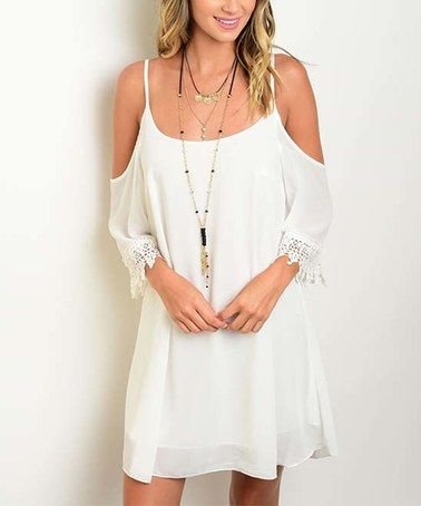 Look at this #zulilyfind! White Crochet-Trim Cutout Dress #zulilyfinds