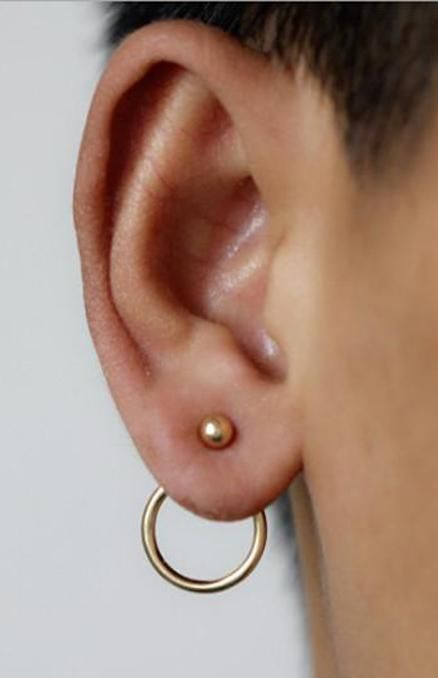 Minimal Ring Ear Piercing Ideas Simple Minimalistic Hoop Circle Modern Jacket Earrings Aro Aretes Chaqueta Mybodiart