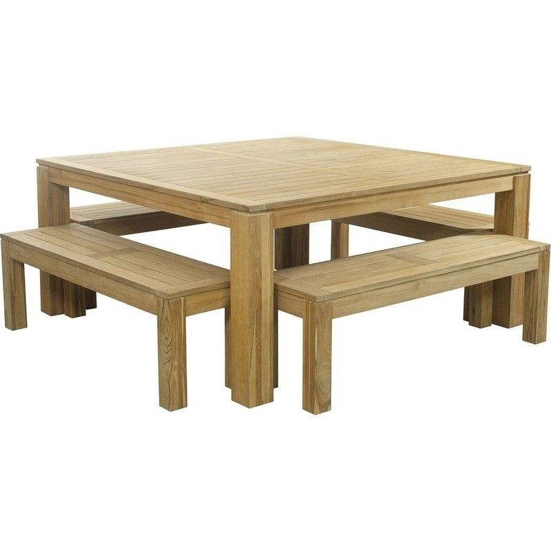 Entertainer Square Outdoor Table W 4 Benches 1 7m In 2020