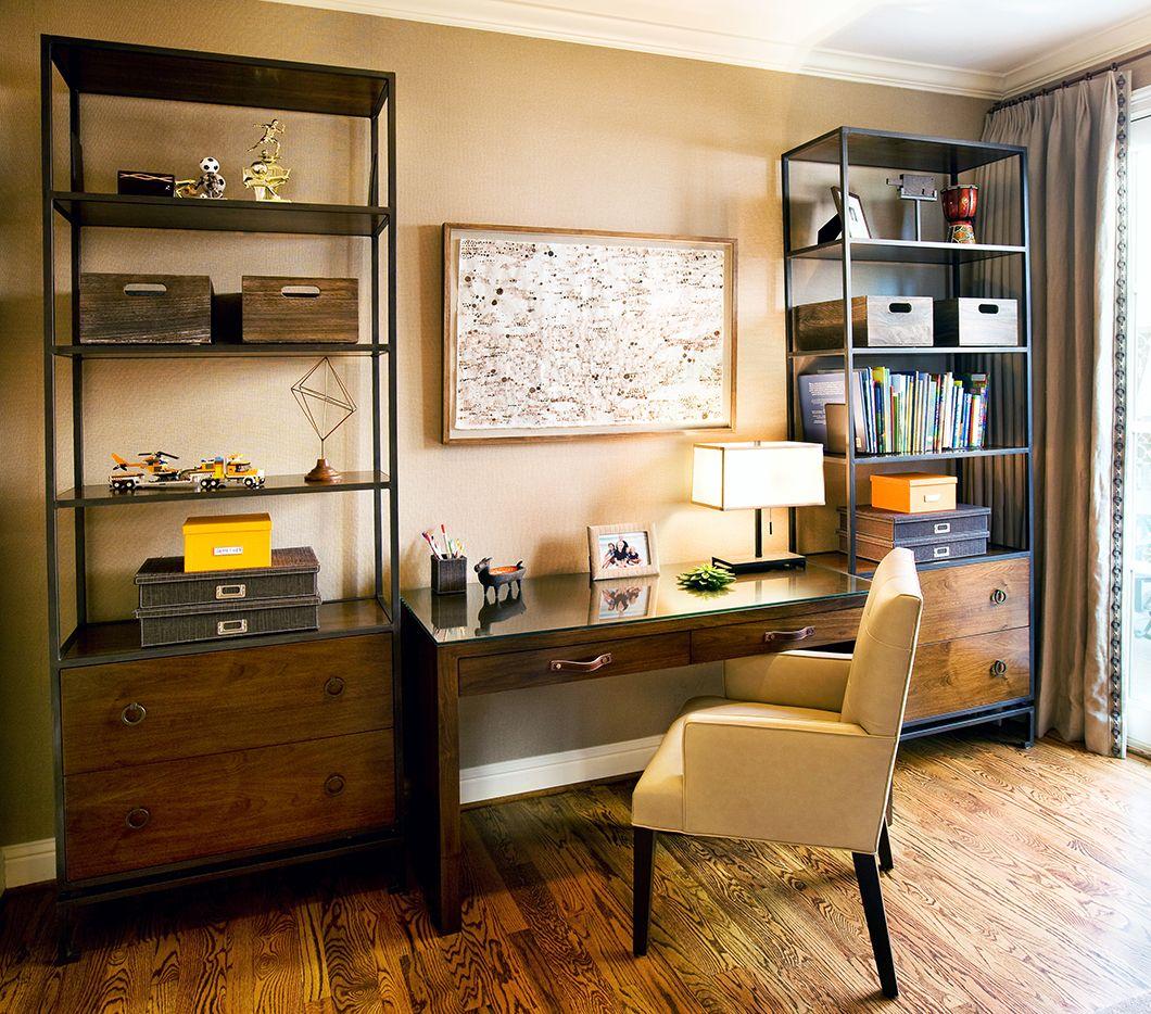 Great bookshelves on either side of a desk Hardenburg