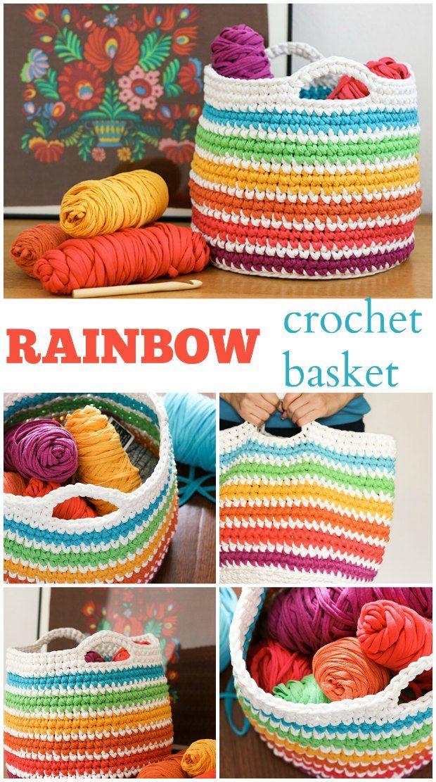 Mini Crochet Basket Rainbow Pattern Crochet Pinterest Crochet