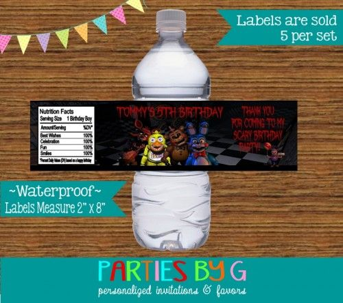 Five Nights At Freddy S Birthday Party Favors Water Bottle Labels Birthday Party Favors Darth Vader Birthday Party Personalized Labels