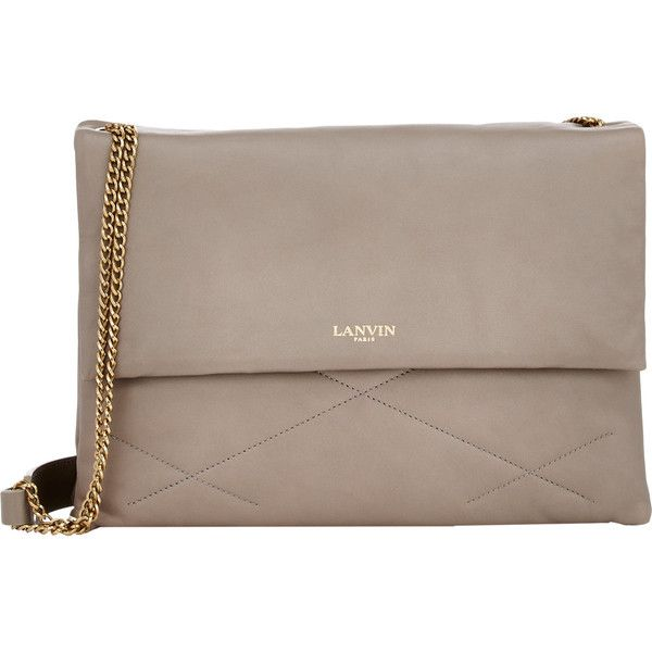 Lanvin Women's Quilted Sugar Shoulder Bag ($2,190) ❤ liked on Polyvore featuring bags, handbags, purses, bolsos, grey, handbags shoulder bags, quilted handbags, man bag, gray purse and chain shoulder bag