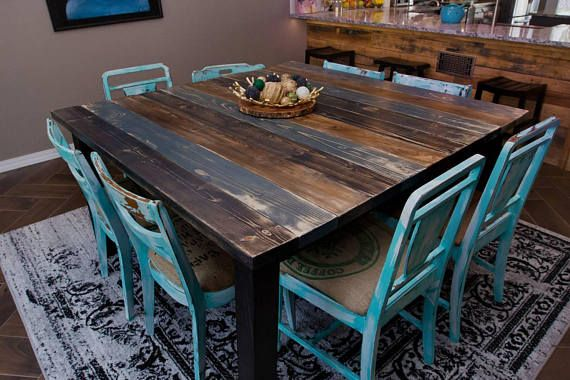 Gray And Blue Square Farm Table Shabby Chic Kitchen Kitchen Table Redo Blue Kitchen Tables