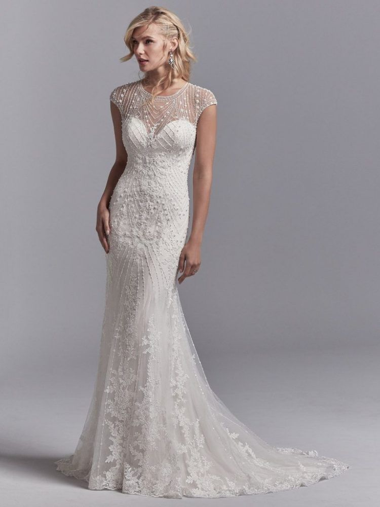 Illuision Sweetheart Cap Sleeve Beaded Fit And Flare Wedding Dress By Sottero An Wedding Dresses Beaded Sottero And Midgley Wedding Dresses Bridal Gown Fitting