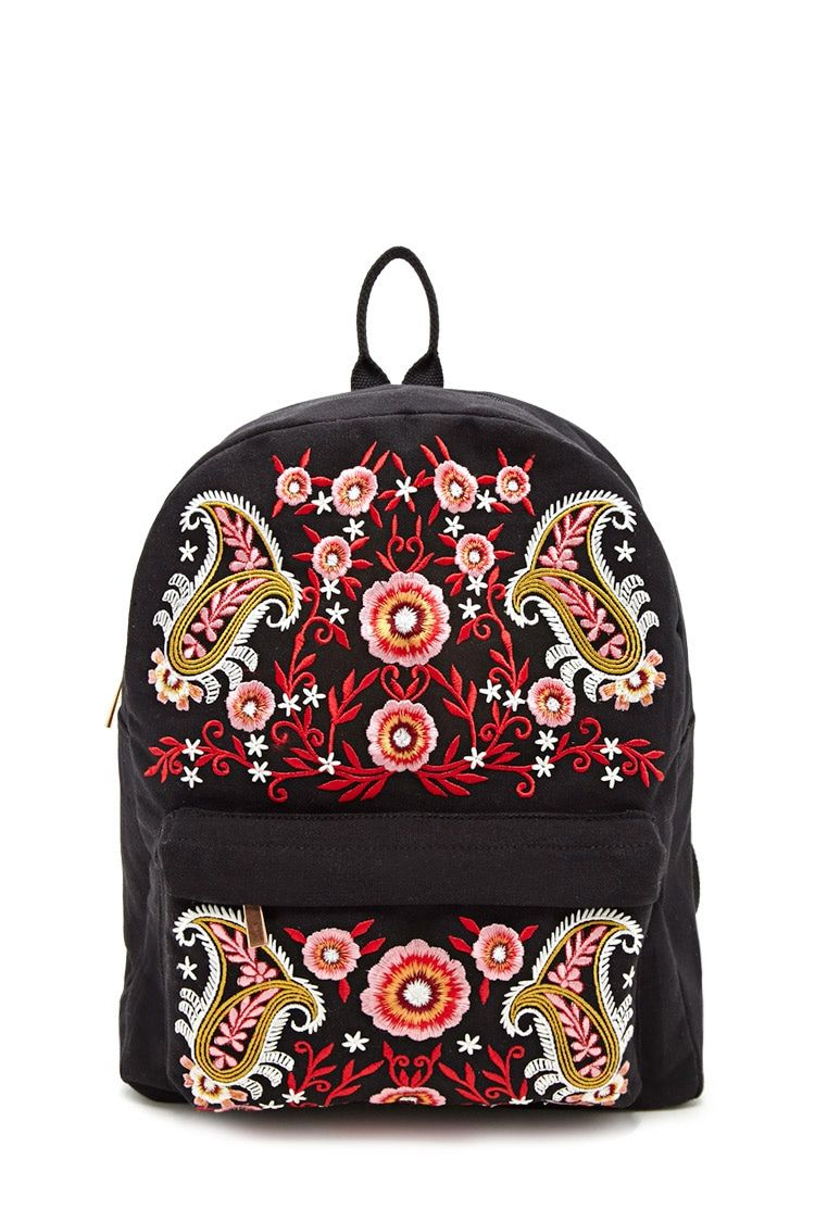 A Canvas Backpack Featuring Front Paisley And Floral Embroidery, A Front  Zip Pocket, A