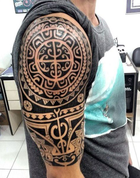 upper arm maori half sleeve male tattoo tattoo pinterest male tattoo maori and tattoo. Black Bedroom Furniture Sets. Home Design Ideas