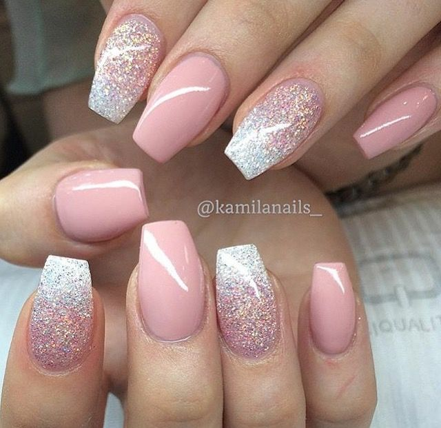 Blushing Pink Glitter Short Coffin Nails Pink Gel Nails Powder