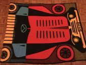 Vintage 1960s Wool Picnic Blanket with Classic Car Design –