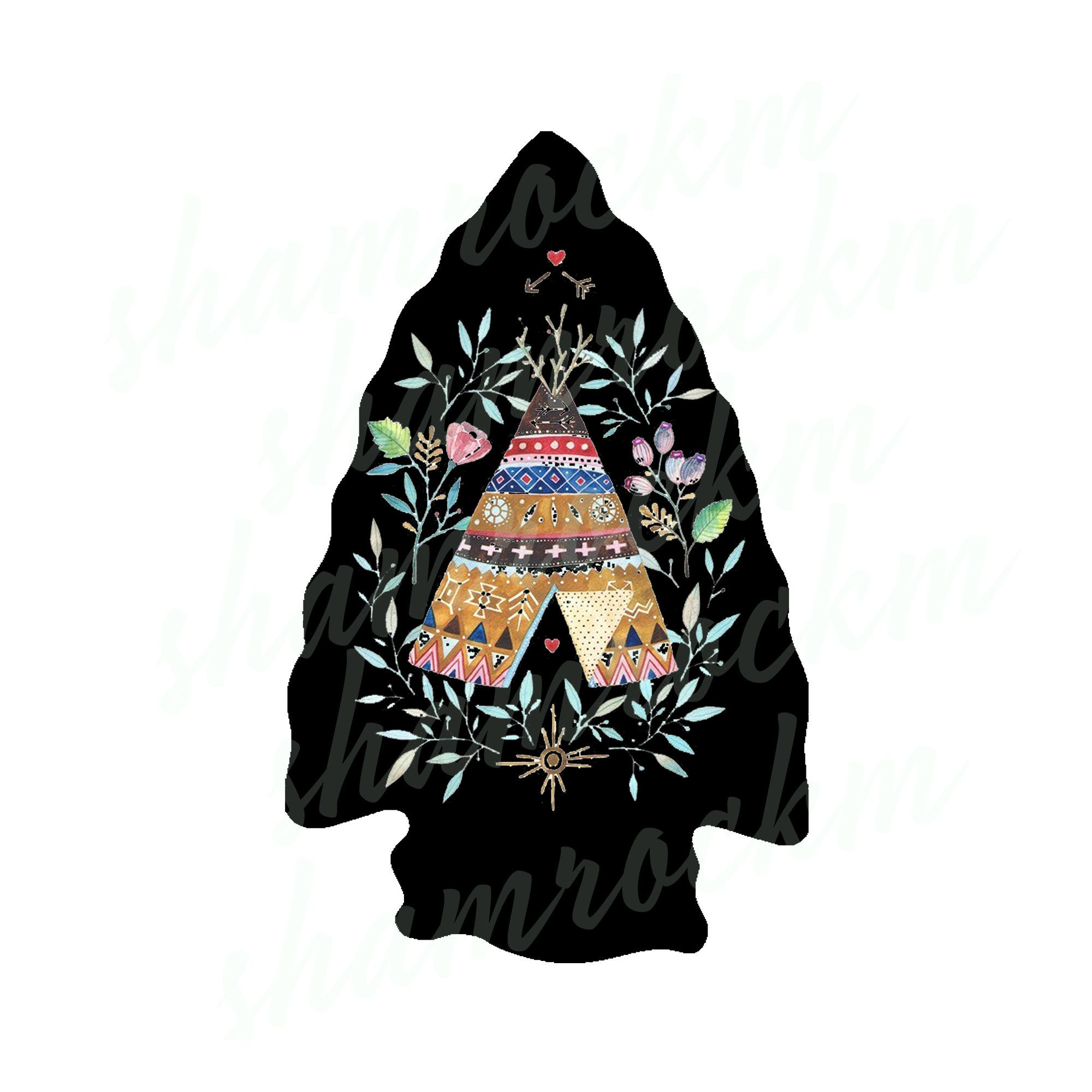 Black Arrowhead With Decorative Tipi Png Images With Etsy In 2020 Png Images Image Arrowhead
