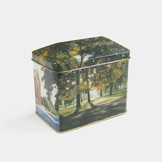 Vintage Hyde Park Scenes Tin - London England Made in England metal box green yellow black woodland trees kitchen storage container